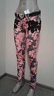 Женские джинсы цветные с гипюром