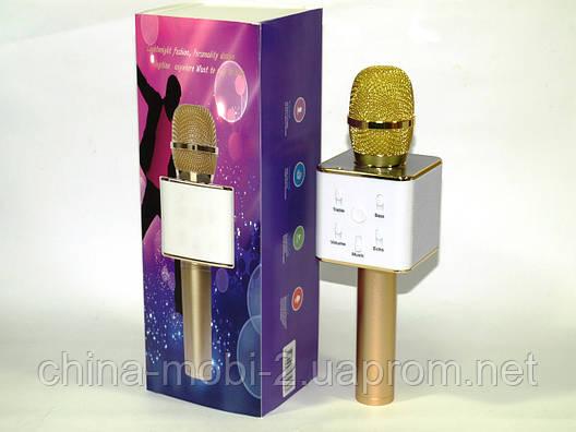 Микрофон с функцией Караоке Q7 StreetGo Bluetooth Karaoke USB AUX MP3 Player, gold, фото 2