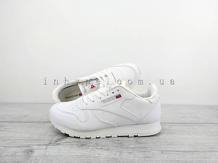 Женские кроссовки Reebok Classic Leather White Рибок белые кожаные ... 743961b91ca