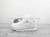 Женские кроссовки Reebok Classic Leather White Рибок белые кожаные 39 - 25 см