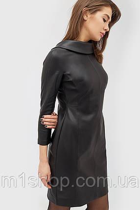 Женское черное платье из кожзама с воротником-отворотом (Glou crd), фото 2