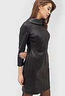 Женское черное платье из кожзама с воротником-отворотом (Glou crd)