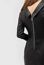 Женское черное платье из кожзама с воротником-отворотом (Glou crd), фото 3