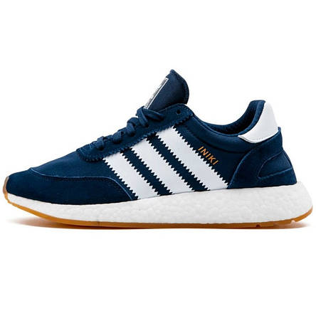 Кросівки чоловічі Adidas Iniki Runner (сині-білі) Top replic, фото 2