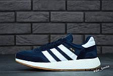 Кросівки чоловічі Adidas Iniki Runner (сині-білі) Top replic, фото 3