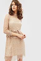 Гипюровое бежевое платье с лентой-завязкой на кулиске (Lovs crd)