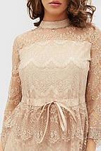 Гипюровое бежевое платье с лентой-завязкой на кулиске (Lovs crd), фото 2