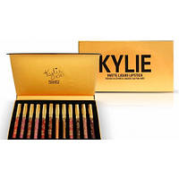 Набор жидких матовых помад Kylie Matte liquid Lipstick Rouge a Levres (12 штук) золотая упаковка