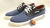 Мужские модные кожаные кроссовки Lacoste ClubShoes original ,синие, фото 1