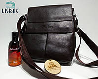 Мужская сумка планшетка кожа pu fashion темно коричневая 21*23*4