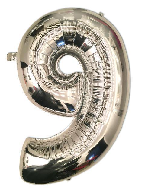 Шар фольгированный серебро 100 см, цифра 9