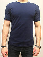 Мужская однотонная футболка темно-синего цвета, фото 1