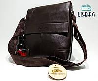 Сумка планшетка  из кожи pu, темно коричневая (24*25)