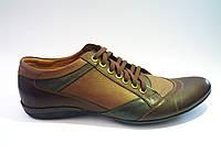 Мужские кожаные спортивные туфли польские коричневые Basso 01