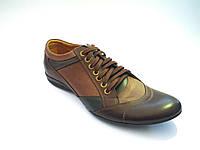 Кожаные польские коричневые мужские стильные спортивные туфли 41р Basso