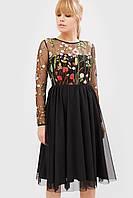 Женское черное платье с сеткой-вышивкой и фатином (Iko crd)