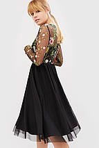 Женское черное платье с сеткой-вышивкой и фатином (Iko crd), фото 3