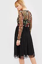 Женское черное платье с сеткой-вышивкой и фатином (Iko crd), фото 2