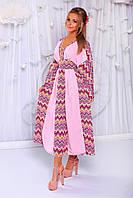 Нежное розовое женское платье кимоно.из шифона гофре с орнаментом по бокам желтого цвета Арт-6214/91
