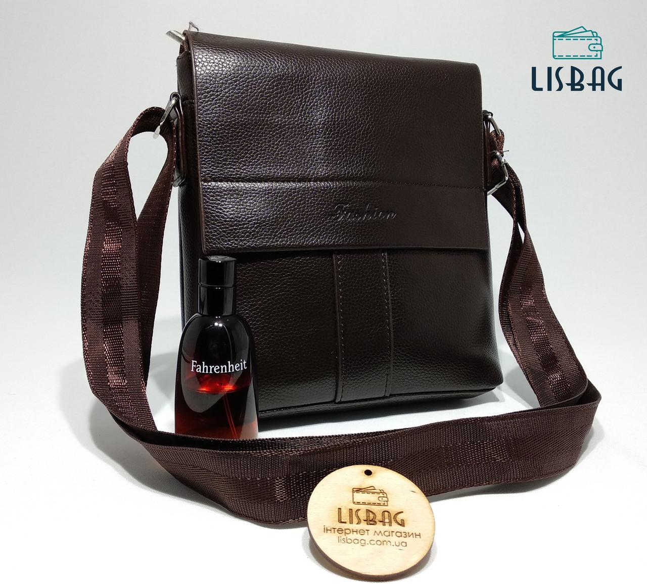 Мужская сумка кожа pu fashion темно коричневая 21*23*4