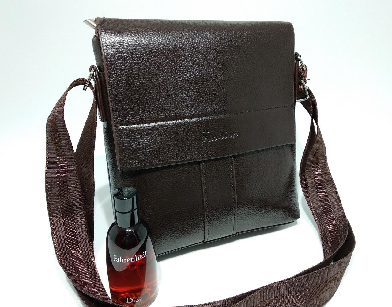 0a1200bb3234 Мужская сумка кожа pu fashion темно коричневая 21*23*4: продажа ...