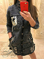 Рубашка -туника    джинсовая