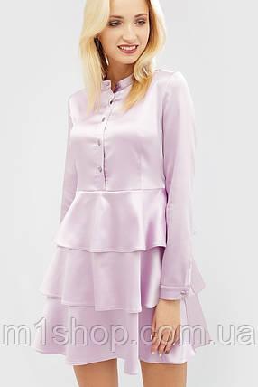 Атласное лиловое платье с многослойной юбкой (Deris crd), фото 2
