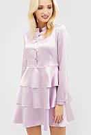 Атласное лиловое платье с многослойной юбкой (Deris crd)
