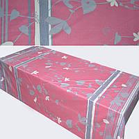 Сатин розовый серый с листьями (купон) ш.230