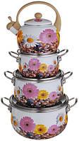 Набор кастрюль эмалированных с чайником (3 кастрюли + чайник 2,2 л), фото 1