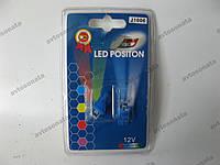 Лампочка без цок.Т10  1LED синяя широкоуг. J1006