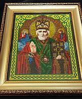 Икона Св.Николая Чудотворца вышитая бисером, 29х26 см, 650