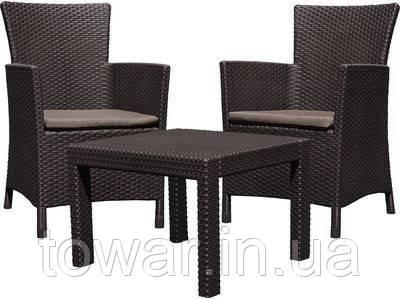 Набор садоваой мебели Allibert Rosario стол + 2 кресла коричневый