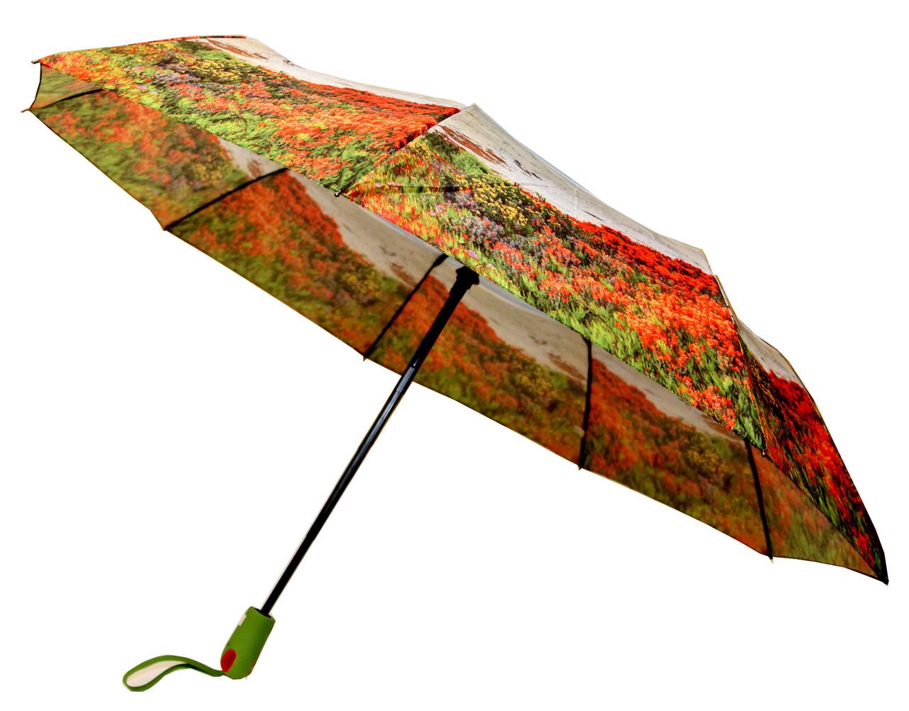 Яркий женский зонт Calm Rain полуавтомат на 9 спиц  с цветочным рисунком
