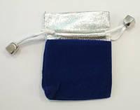 Мешочек бархатный 7х9 см. Синий с серебром, фото 1