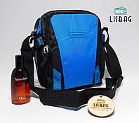 Спортивная сумка планшетка через плече мужская черно-синяя