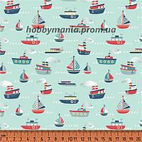 Ткань хлопковая. Корабли. Голубой, красный. Морская тематика. Морской причал.