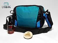 Мужская спортивная сумка-планшетка через плече мужская черно-бирюзовая