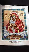 Икона Матери Божей Почаевской вышитая бисером, 35х27 см, 950