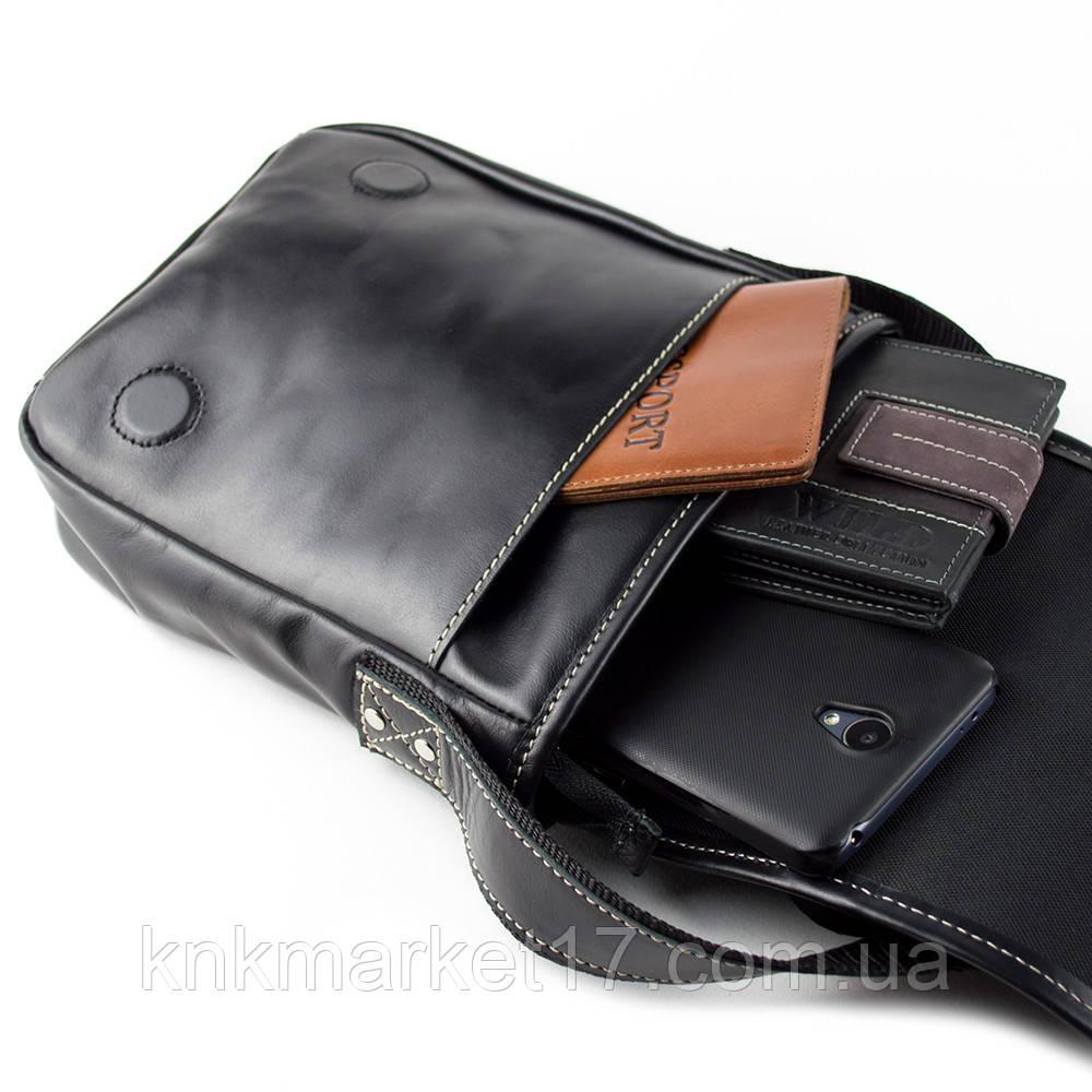 cda193ba1d40 Сумка кожаная мужская Crez-01 (черная гладкая): продажа, цена в ...