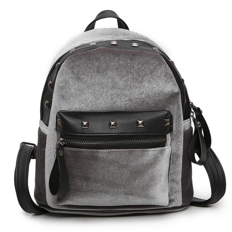 Велюровый женский рюкзак Jesse Velor серый eps-8019