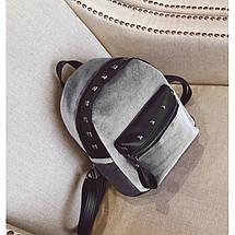 Велюровый женский рюкзак Jesse Velor серый eps-8019, фото 3