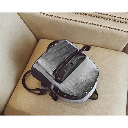 Велюровый женский рюкзак Jesse Velor серый eps-8019, фото 2