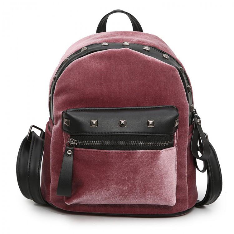 Велюровый женский рюкзак Jesse Velor розовый eps-8020