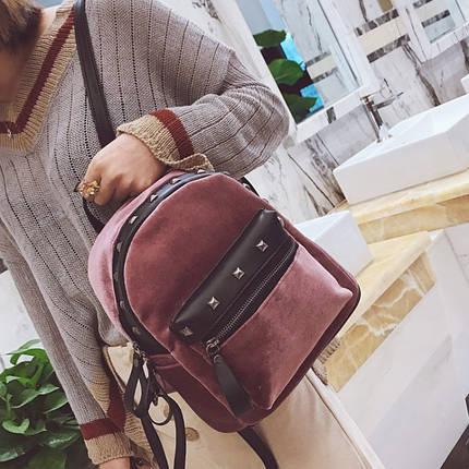 Велюровый женский рюкзак Jesse Velor розовый eps-8020, фото 2