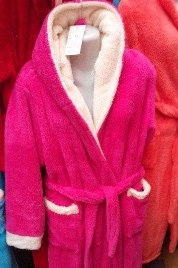 Махровый женский халат длинный красный