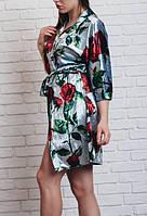 Велюровый качественный Женский халат в цветочный принт