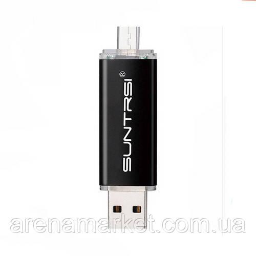 Флеш-пам'ять Suntrsi 32 ГБ USB 2.0, Micro USB - чорний