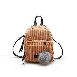Женский вельветовый мини рюкзак Kelly коричневый eps-8112