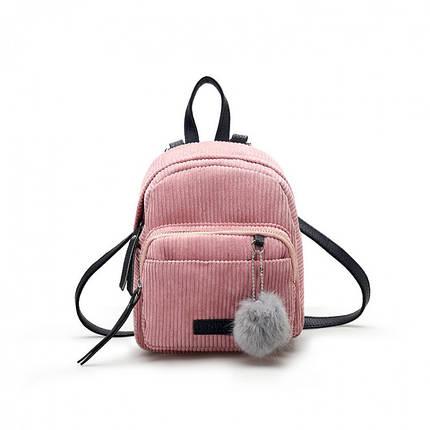 Женский вельветовый мини рюкзак Kelly розовый eps-8110, фото 2